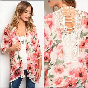 Sweaters - Amazing Chiffon Floral Lace Cardi Kimono SMLXL